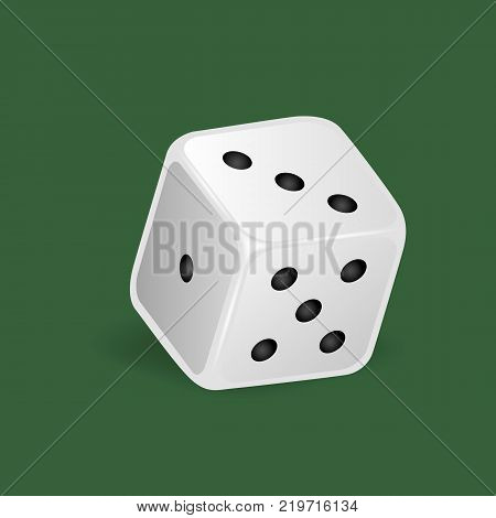 Realistic white dice. Gambling game, casino, dice. Hobbies, professional occupations. Dice casino gambling, with random various numbers: one, three five Vector illustration isolated