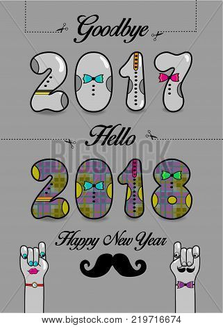Goodbye 2017. Hello 2018. Happy New Year. Numbers by artistic font. Numerals with bowties. Cartoon male and female hands looking at each other. Illustration