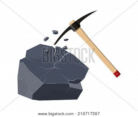 Wooden pickaxe with iron tip nd rock. Miners hand tool for extracting minerals. Vector illustration in flat style