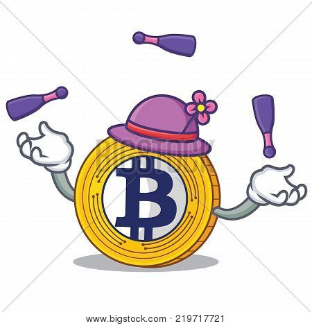 With juggling Bitcoin Gold character cartoon vector illustration