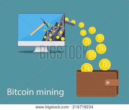 concept of cryptocurrency technology, bitcoin making, bitcoin mining, e-wallet. Computer monitor with bitcoin symbol relocating into wallet. Vector illustration in flat style