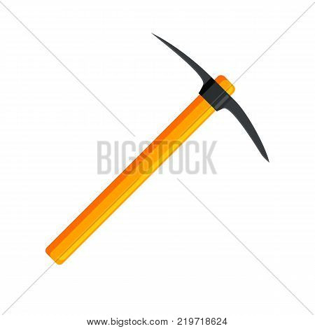 Wooden pickaxe with iron tip. Miners hand tool for extracting minerals. Vector illustration in flat style