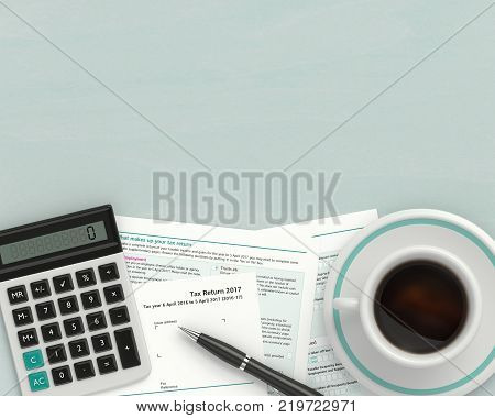 3d render of UK tax form with calculator lying on wooden desk with place for text