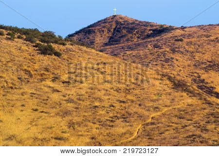 Golden grasslands on an arid rural plain taken in Central California