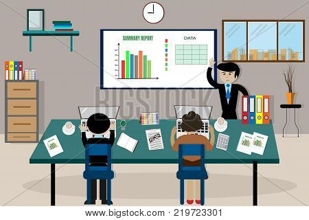 Team business man's job . working with laptop in open space office. Meeting report in progress - vector image concept business people