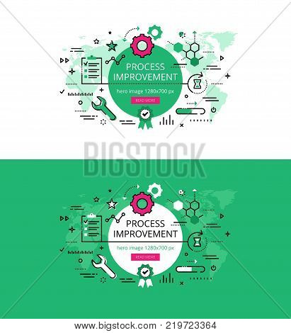 Set of modern vector illustration concepts of improving process. Line flat design hero banners for websites and apps with call to action button, ready to use