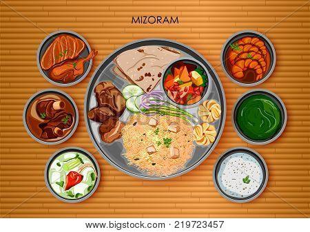 illustration of Traditional Mizorami cuisine and food meal thali of Mizoram India