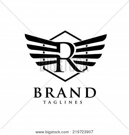 letters r with wings and hexagon logo vector, Creative Letter r with wings design element. letter r wings Corporate branding identity Vector template