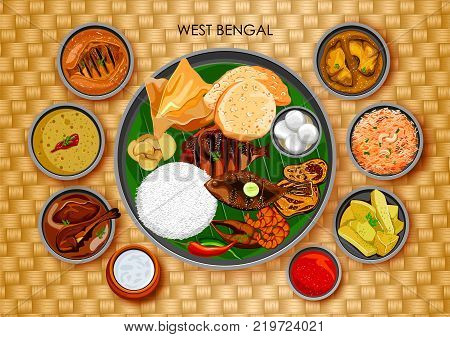 illustration of Traditional Bengali cuisine and food meal thali of West Bengal India