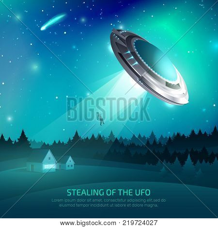 Alien spacecraft poster with flying saucer during kidnapping of person on night sky background vector illustration