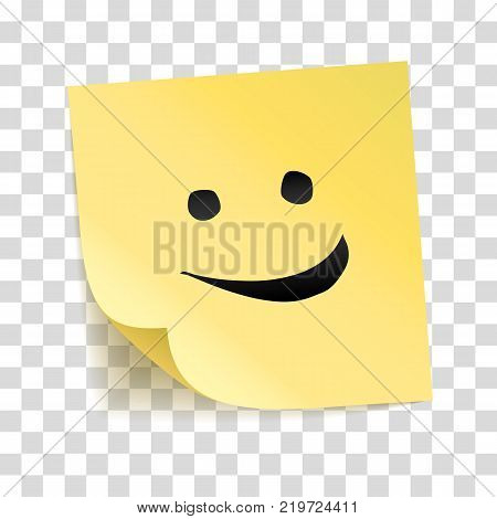 Note yellow sticker smile. Vector stick on transparent background. Smiling happy face, cute emoticon. Laughter notice, Happy day, thank you poster. smiley emoji trendy design