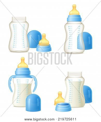 Durable baby milk bottles constructor 4 realistic compositions set with easy to hold grips isolated vector illustration poster