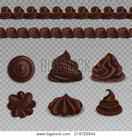 Set of colored whipped cream realistiic transparent composition with chocolate for baking vector illustration