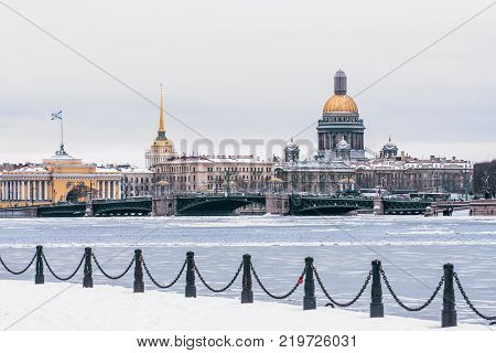 Hermitage, St. Isaac's Cathedral, The Admiralty Saint Petersburg In The Winter.