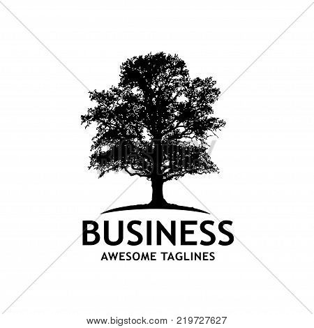 tree silhouette vector logo, nature wood tree illustration of silhouette,oak tree silhouette logo vector