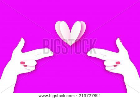 Woman hand making shape of pointed gun. Origami Female holding Two fingers like a revolver. Love Bang. White Heart Shot in paper cut style. 2 hands.Valentine day. Romantic Holidays.14 February. Vector