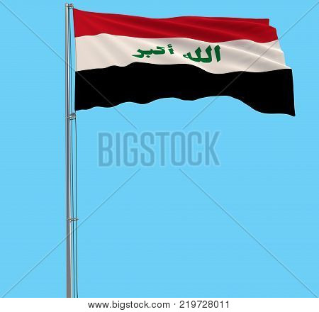 Isolated flag in colors of Iraq on a flagpole fluttering in the wind on a blue background 3d rendering