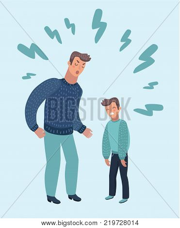 Vector cartoon illustration of father scolding His Son. Angry Dad Yells at Little Sad Kid. Angry parent. Wrong education, psychology.