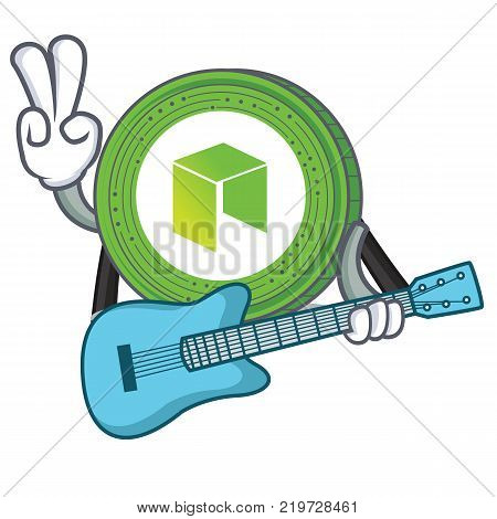 With guitar NEO coin character cartoon vector illustration