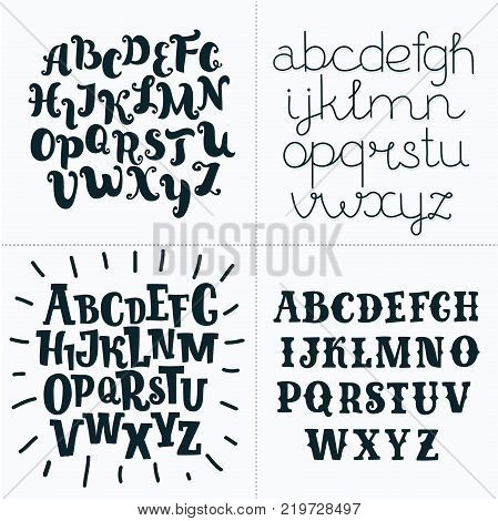Vector cartoon Set of four hand-drawn and hand written fonts. Vector latin ABC. black and white ABC
