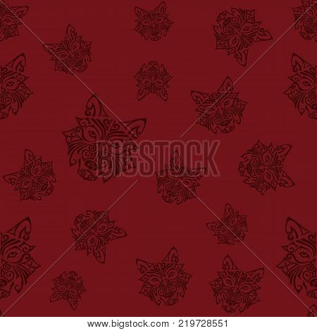 Seamless pattern with wolf or husky dog head stylized Maori face tattoo. Dog is symbol of Chinese 2018 New year. Vector.