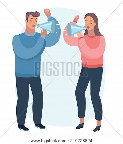 Vector cartoon illustration of a husband and wife Arguing. Shout to each other with megaphone