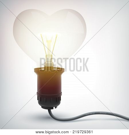 Realistic glowing electric bulb concept in heart shape with power cord on gray background isolated vector illustration