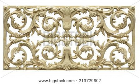 Abstract floral pattern carved on wood isolated over white background