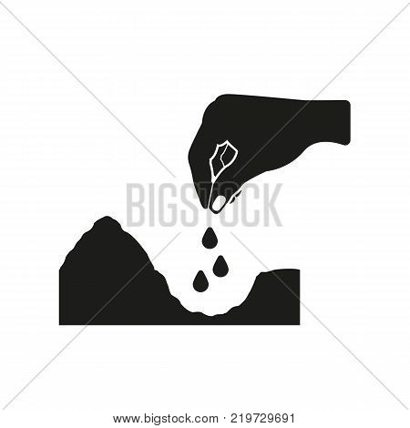 Hand throwing seeds icon. Plant, sow, organic, ecology, biology, spring symbol. Flat design. Stock - Vector illustration