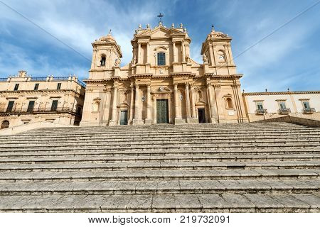 Basilica and cathedral of St. Nicholas of Myra (San Nicolo) in Sicilian baroque style. In the small town of Noto Syracuse Sicily Italy