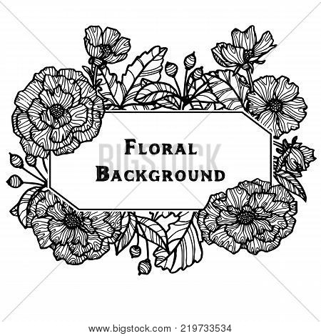 vintage vector floral frame in victorian style, flowers, buds and leaves of roses, ink drawing, imitation of engraving, hand drawn design template