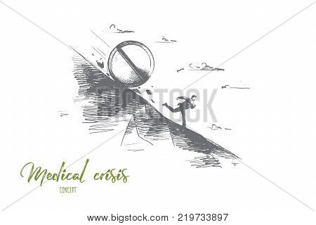 Medical crisis concept. Hand drawn tablets kill a person. Man running from medicine isolated vector illustration.