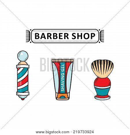 vector flat barber shop tools set. Shaving brush, barber pole, after shave gel icon. Isolated illustration on a white background for your logo, brand design
