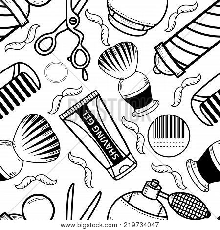 vector flat barber shop tools monochrome seamless pattern. scissors, comb, shaving brush, barber pole, hairdresser sprayer after shave gel icon. Isolated illustration white background for brand design