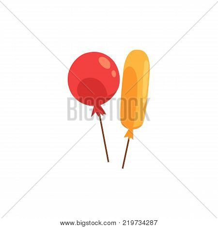 Two shiny colorful balloons, birthday party decoration element, cartoon vector illustration isolated on white background. Couple of colorful shiny balloons, round red and long yellow