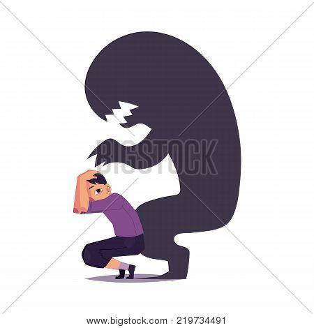 Fear, phobia shown as scary black monster shadow hanging over frightened man, cartoon vector illustration isolated on white background. Concept of mental disorder, phobia, fear as black monster shadow