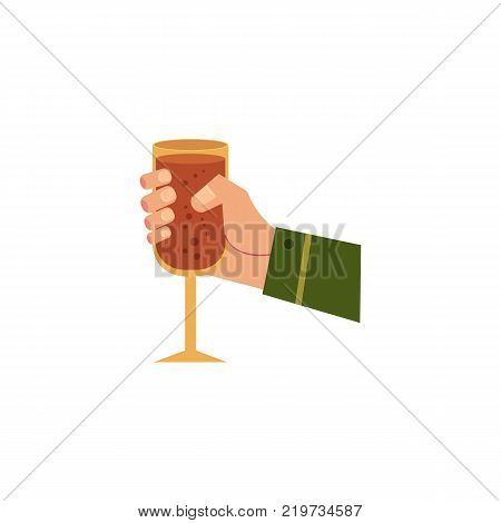 vector cartoon man hand holding glass of sparkling alcohol drink and water drops mockup closeup. Ready for your design isolated illustration on a white background.