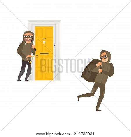 vector cartoon thief burglar housebreaker in mask, hood, breaking and entering in a victim's house holding stolen keys in hand, robber holding bag with stolen money. Isolated illustration