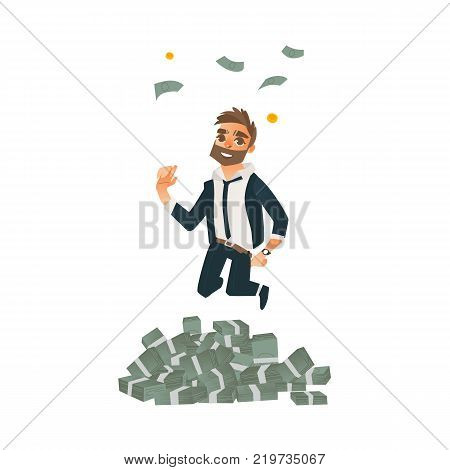 Happy man, businessman in formal suit celebrating success, jumping under money rain, flat cartoon vector illustration isolated on white background. Business man, businessman jumping in money