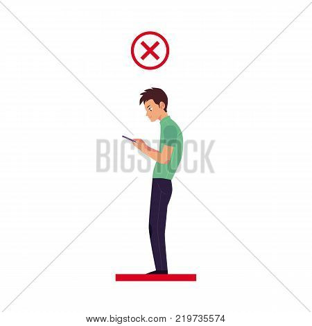 Incorrect neck and spine alignment of young cartoon man character using smartphone. Unhealthy head bending positions, inclination of neck. Spine care concept. Vector isolated illustration