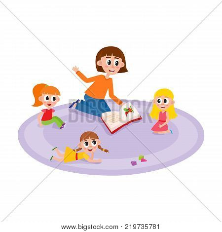 vector flat girls kids sitting and lying at carpet near cubics toys around young woman with book - teacher and listening to her attentively with interest. Isolated illustration, white background.