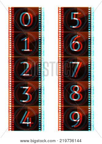 Film countdown numbers. Vector Illustration with glitch error effect