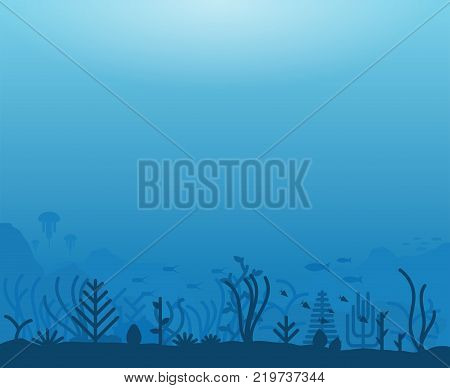 Underwater ocean scene. Deep blue water coral reef and underwater plants with fish. Marine water life and ground with rocks. Modern line illustration.