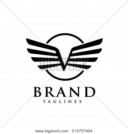 letters v with wings and circle logo vector, Creative Letter v with wings design element. letter v wings Corporate branding identity Vector template