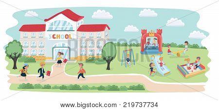 Vector cartoon illustarion of school building and playground kids play on it. Schoolchildren hurry up to school