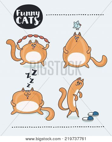 Vector set of red comic cartoon cat. Funny cartoon happy jumping and running with sausages, listening a blue bird. Puzzled look. One plotting to shit in your sippers footwear and spoils it, snoring animal. For print or poster Isolated object.