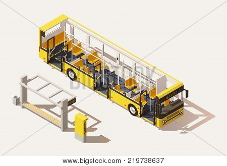 Vector isometric low poly city bus cross-section