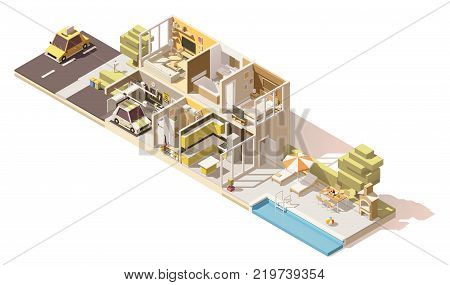 Vector isometric low poly house cross section