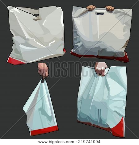 painted white with red stripe package bag in different versions
