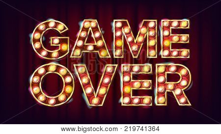 Game Over Banner Vector. Casino 3D Glowing Element. For Slot Machines, Card Games Design. Illustration